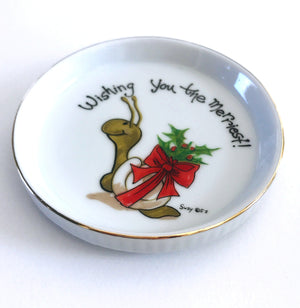 Suzy's Zoo Christmas Snail 'Wishing You The Merriest!' Ceramic Coaster Vintage Collectible