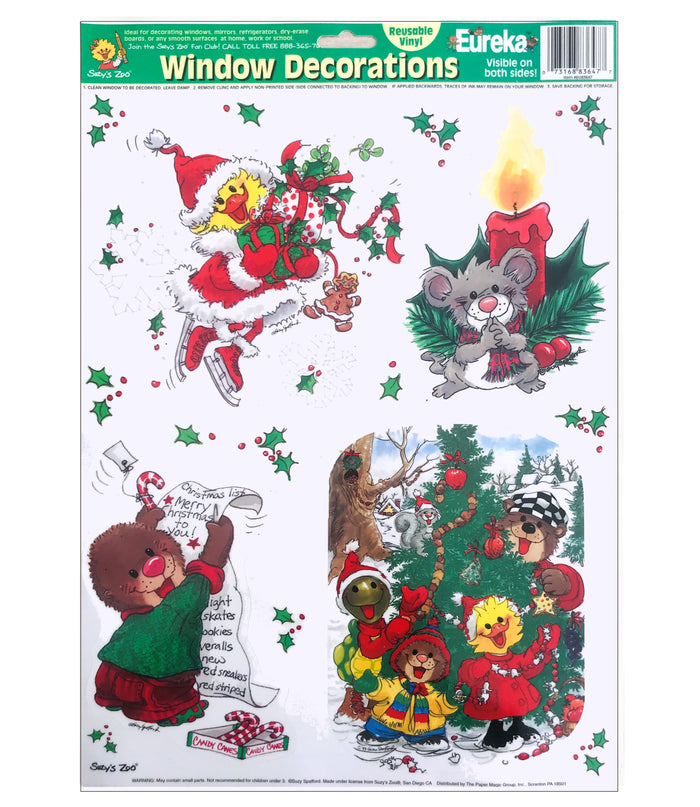 Suzy's Zoo Christmas Window or Mirror Clings Decorations