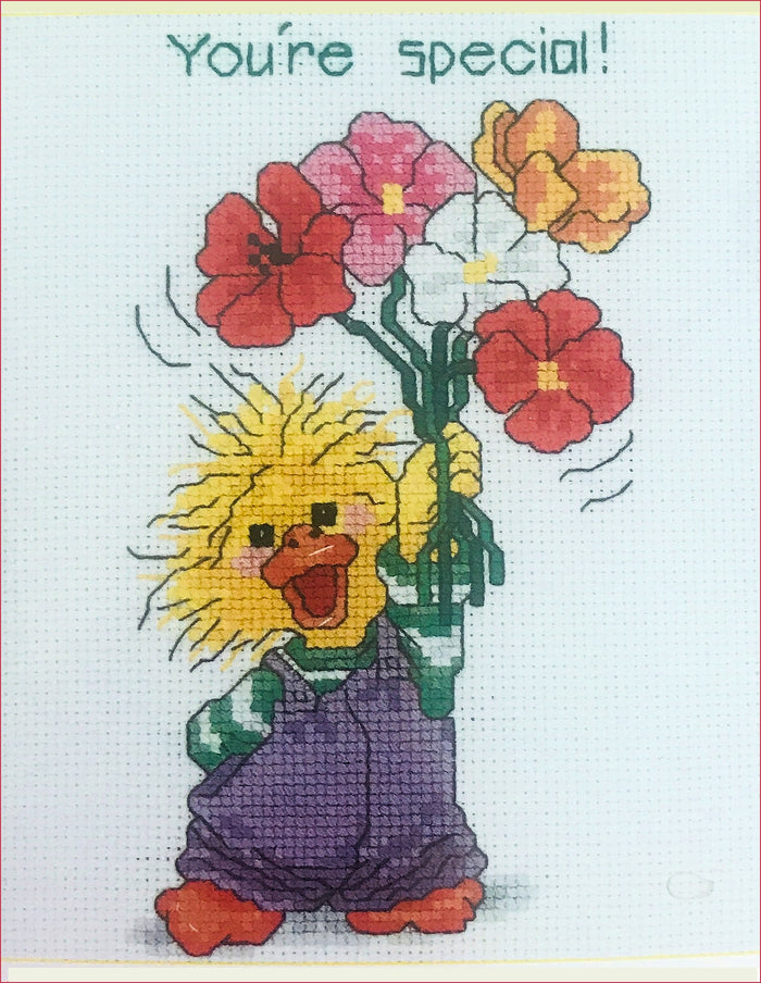 Suzy's Zoo Vintage Counted Cross Stitch Kit Yellow Duck with Flowers - You're Special!