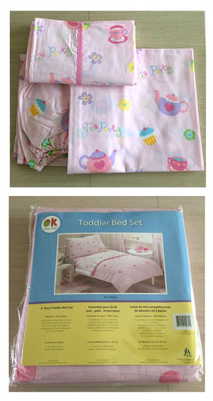 Pink Tea Party Polka Dot Toddler Girl Cotton Bedding 4pc Comforter & Sheets Set Bed in a Bag