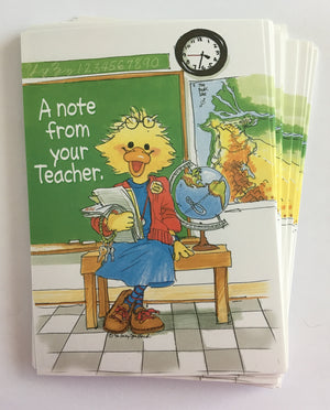Suzy's Zoo Teacher Note Cards - Note, Cheer, Happy Birthday - 2 CT