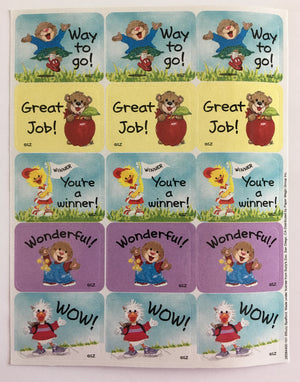 Suzy's Zoo Teacher Encouragement / Reward Sticker Sheet - Read, Great Job, Wonderful