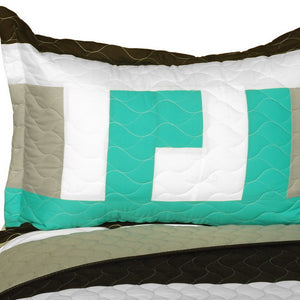 Black White Grey Green Geometric Teen Boy Bedding Full/Queen Quilt Set - Pillow Sham