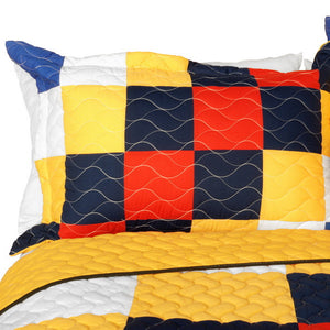 Geometric Checkered Teen Boy Bedding Full/Queen Quilt Set Orange Yellow Blue Red White