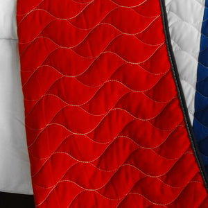 Red Blue White Criss-Cross Teen Boy Bedding Full/Queen Modern Striped Quilt Set