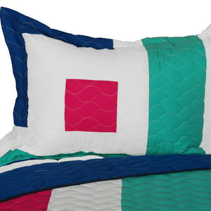 Blue White Green & Hot Pink Geometric Teen Bedding Full/Queen Quilt Set Modern Bedspread - Pillow Sham