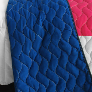 Blue White Green & Hot Pink Geometric Teen Bedding Full/Queen Quilt Set Modern Bedspread - Back