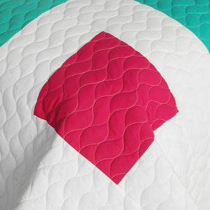Blue White Green & Hot Pink Geometric Teen Bedding Full/Queen Quilt Set Modern Bedspread - Detail