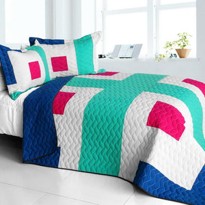 Blue White Green & Hot Pink Geometric Teen Bedding Full/Queen Quilt Set Modern Bedspread