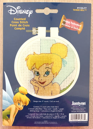 "Tinkerbell Counted Cross Stitch Kit with Hoop 3"" Round"