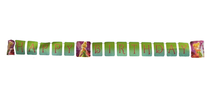 Tinkerbell Plastic Happy Birthday Party Banner 8 FT 5 IN - Purple & Green