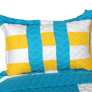 Turquoise Blue Yellow & White Striped Teen Bedding Full/Queen Quilt Set - Pillow Sham