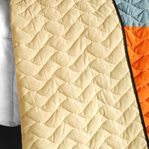 Black Orange Cream & Blue Teen Bedding Full/Queen Quilt Set - Back