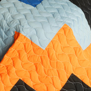 Black Orange Cream & Blue Teen Bedding Full/Queen Quilt Set - Detail