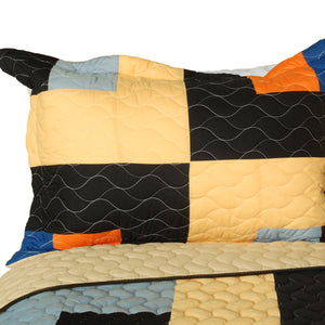 Black Orange Cream & Blue Teen Bedding Full/Queen Quilt Set - Pillow Sham