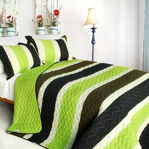 Lime Green White Black Striped Teen Boy Bedding Full/Queen Quilt Set Modern Bedspread