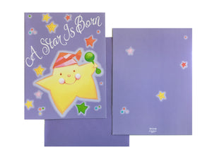 A Star Is Born Baby Birth Announcement Cards 8 CT - Purple with Yellow Star Twinkle Twinkle
