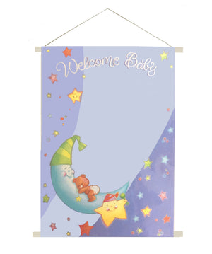 "Welcome Baby Bear Moon & Star Baby Shower Party Sign-In Keepsake Sheet 19"" x 27"" Scroll Twinkle, Twinkle"