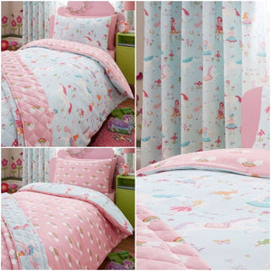 Pink Blue Magical Unicorn & Fairies Bedding Toddler Twin Full Duvet Cover Set Rainbows & Clouds