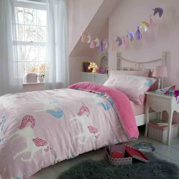 Unicorn Pink Fleece Bedding Twin or Full Kids Duvet / Comforter Cover Set