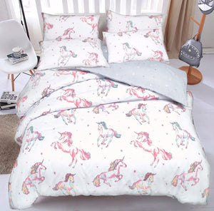 Prancing Unicorns Bedding Duvet / Comforter Cover Set Twin Full Queen Pink & Grey