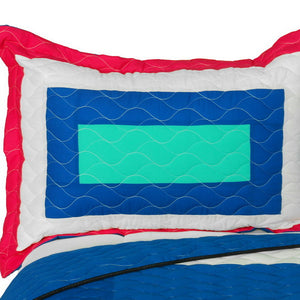 Hot Pink Blue White & Turquoise Teen Bedding Full/Queen Geometric Quilt Set - Pillow Sham