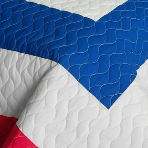 Hot Pink Blue White & Turquoise Teen Bedding Full/Queen Geometric Quilt Set - Detail