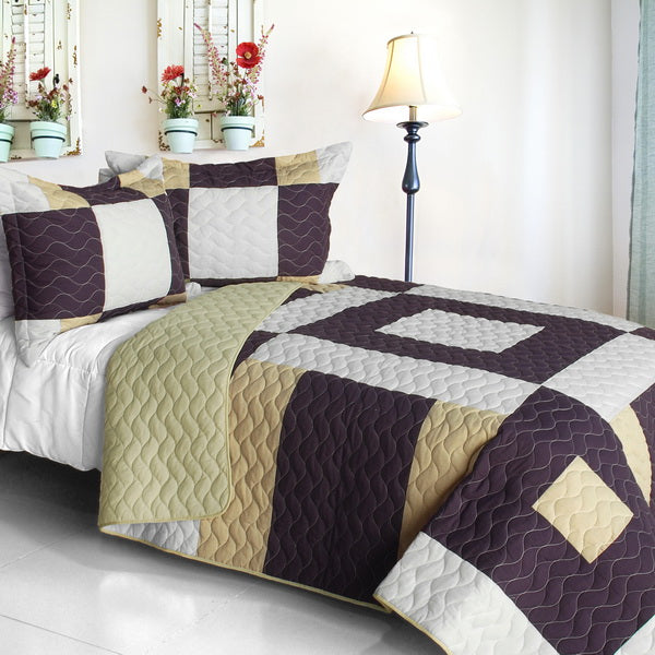 Brown & Tan Geometric Teen Bedding Full/Queen Quilt Set Modern Patchwork Bedspread