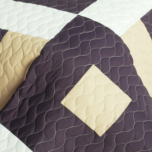 Brown & Tan Geometric Teen Bedding Full/Queen Quilt Set - detail