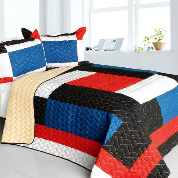 Red White Black Blue Geometric Teen Boy Bedding Full/Queen Quilt Set