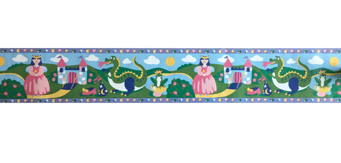 "Princess & Castle Double-Length Wall Border 8"" x 10 yds (30 ft) Olive Kids Pre-Pasted"