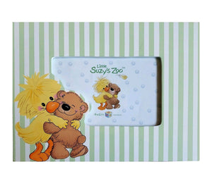 "Little Suzy's Zoo Witzy Duck & Boof Bear Hugging Keepsake Baby Photo Frames 6"" x 4"" or 3.5"" x 2.5"" Green Striped"