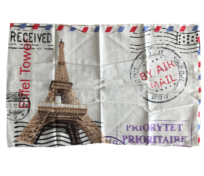 "Paris Eiffel Tower Postage Stamp Pillowcase 19"" x 29"""
