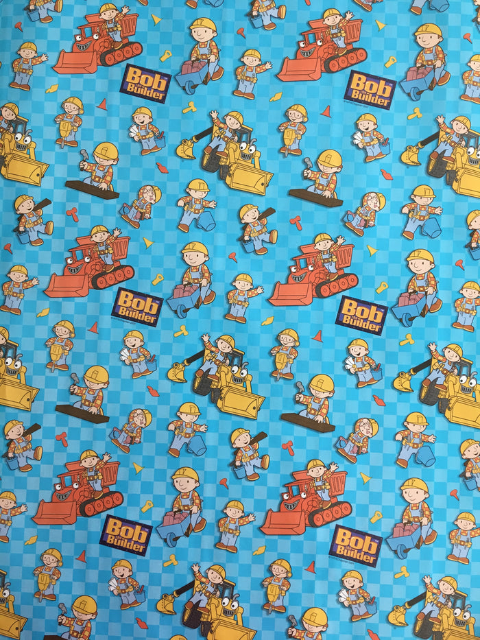 Bob The Builder Party Rolled Gift Wrap Blue Wrapping Paper