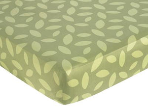 Safari Green Leaf Foliage Print Crib or Toddler Fitted Sheet or Mini Crib Sheet