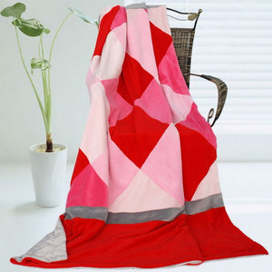 Pink Red Patchwork Blanket Style J - 030