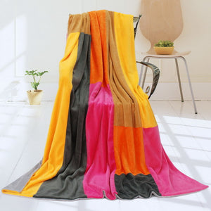 Hot Pink Orange Yellow Striped Plush Blanket Style C - 058