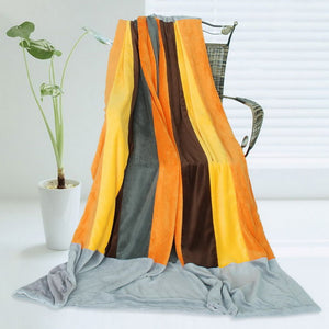 Orange Grey Fleece Blanket Style B - 070