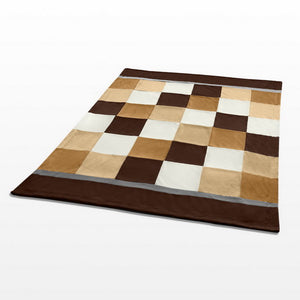 Brown Tan Patchwork Fleece Blanket Style A - 026