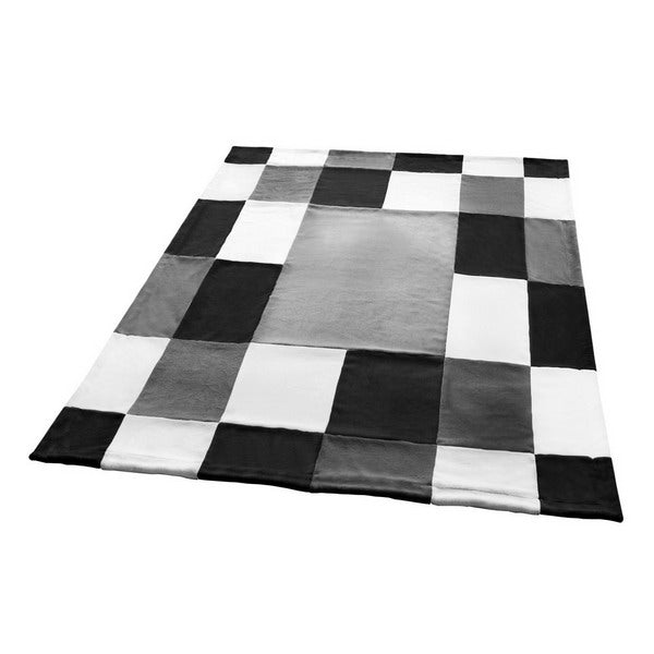 Various Black White Grey Patchwork & Striped Fleece Blankets Twin/Full