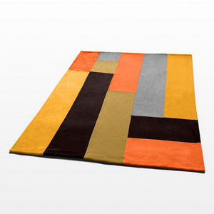 Orange Grey Brown Fleece Blanket Style D - 060