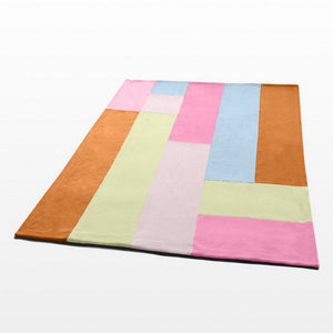 Pink Blue Brown Striped Fleece Blanket Style F - 061