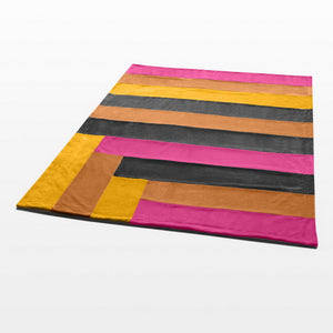 Hot Pink Orange Yellow Striped Plush Blanket Style E - 074