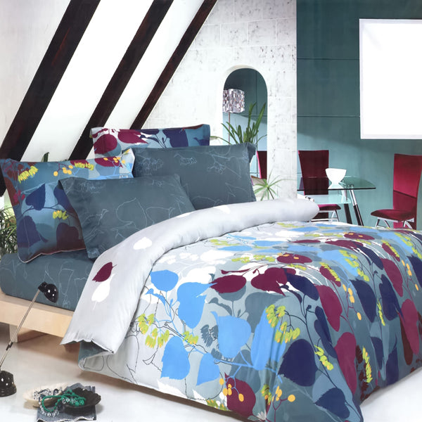 Leaf Print Bedding Teen Girl Duvet Cover Sets Twin or Full Gray Blue Burgundy
