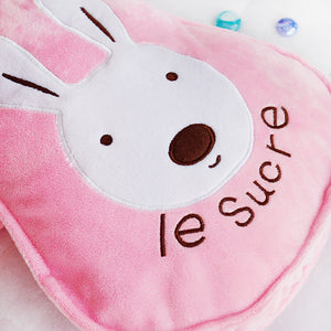 Pink / Blue Sugar Bunny Fleece Baby Blanket with Bunny Pillow Cover or Bag