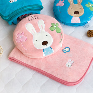 Pink Bunny Pillow with Blanket