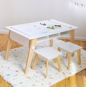 Arts & Crafts Table & Two Chair Play Set Modern Kids Furniture Blue or White
