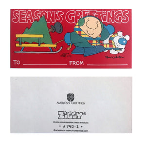 Ziggy with Fuzz, Sled and Christmas Tree Smaller Gift Tag - Front and Back