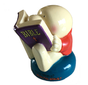 "Vintage Ziggy Earthenware Collectible 4"" Figurine 'Ziggy Reading Bible' NIB"