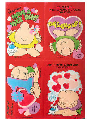 Vintage Ziggy Sticker Valentine Cards with Envelopes 4 CT